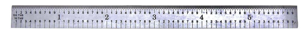 "PEC Tools 401-018 18"" 5R USA Flexible Steel Rule, reads 32nds, 64ths, 10ths, 100ths."