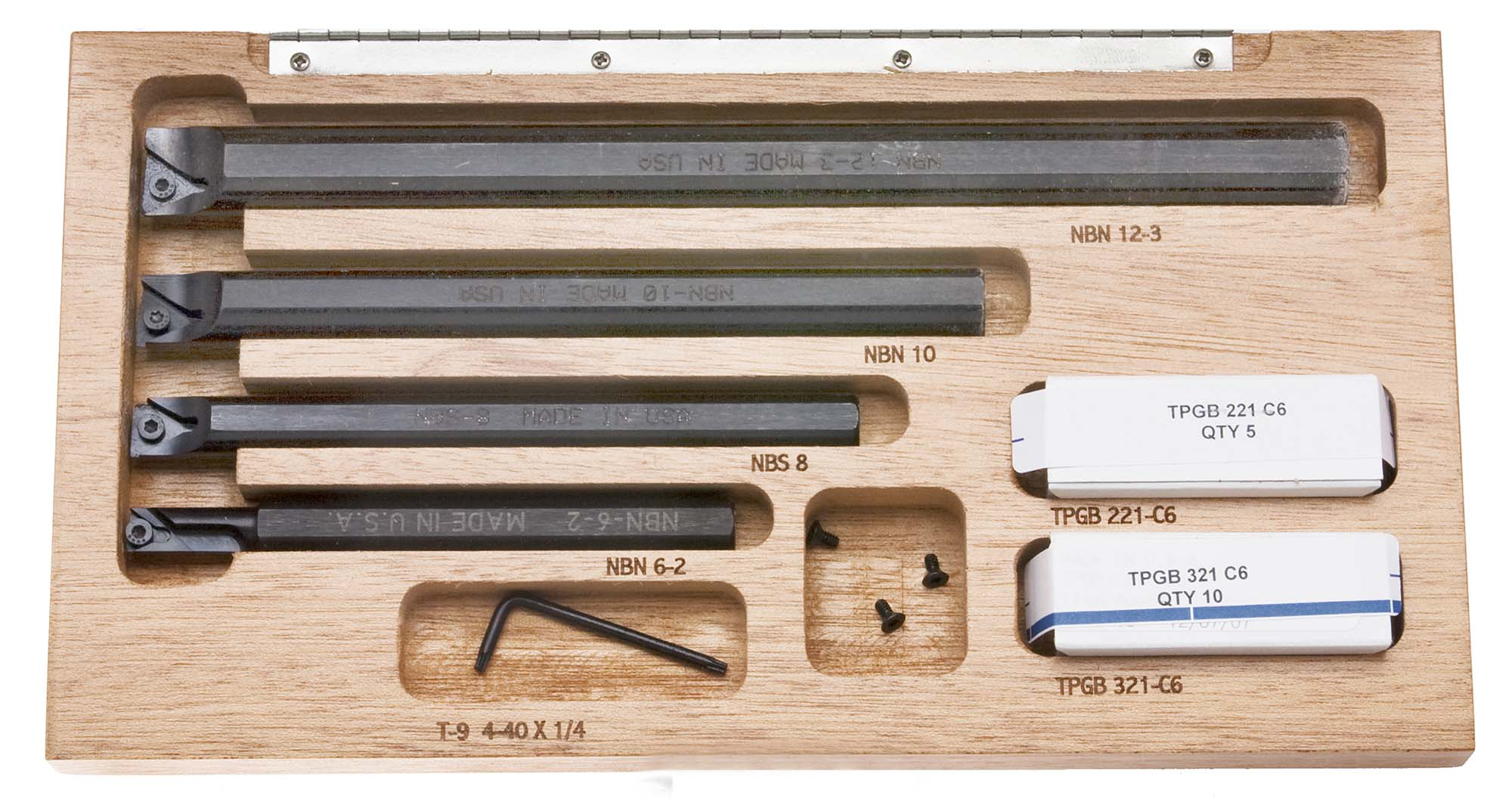 Indexable Boring Bar Set with Wood Case