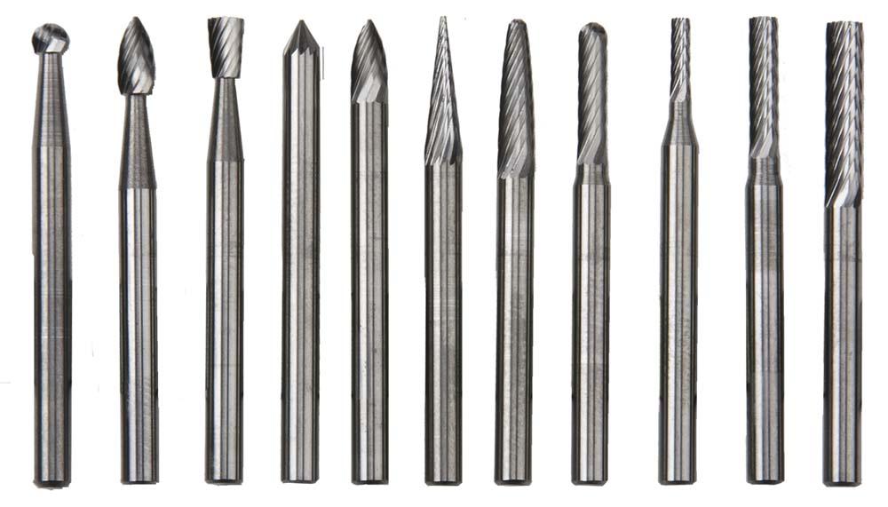 """1/8"""" Shank Carbide Burr Set - 11 pieces"""