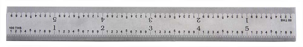 """PEC Tools 162-012 12"""" 16R USA Rigid Steel Rule, reads 32nds, 64ths, 50ths, 100ths."""