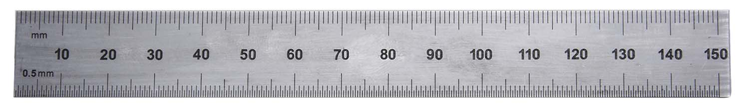 "PEC Tools 262-006 6"" Inch/MM USA Rigid Steel Rule, reads 32nds, 64ths, 1mm, 1/2mm."