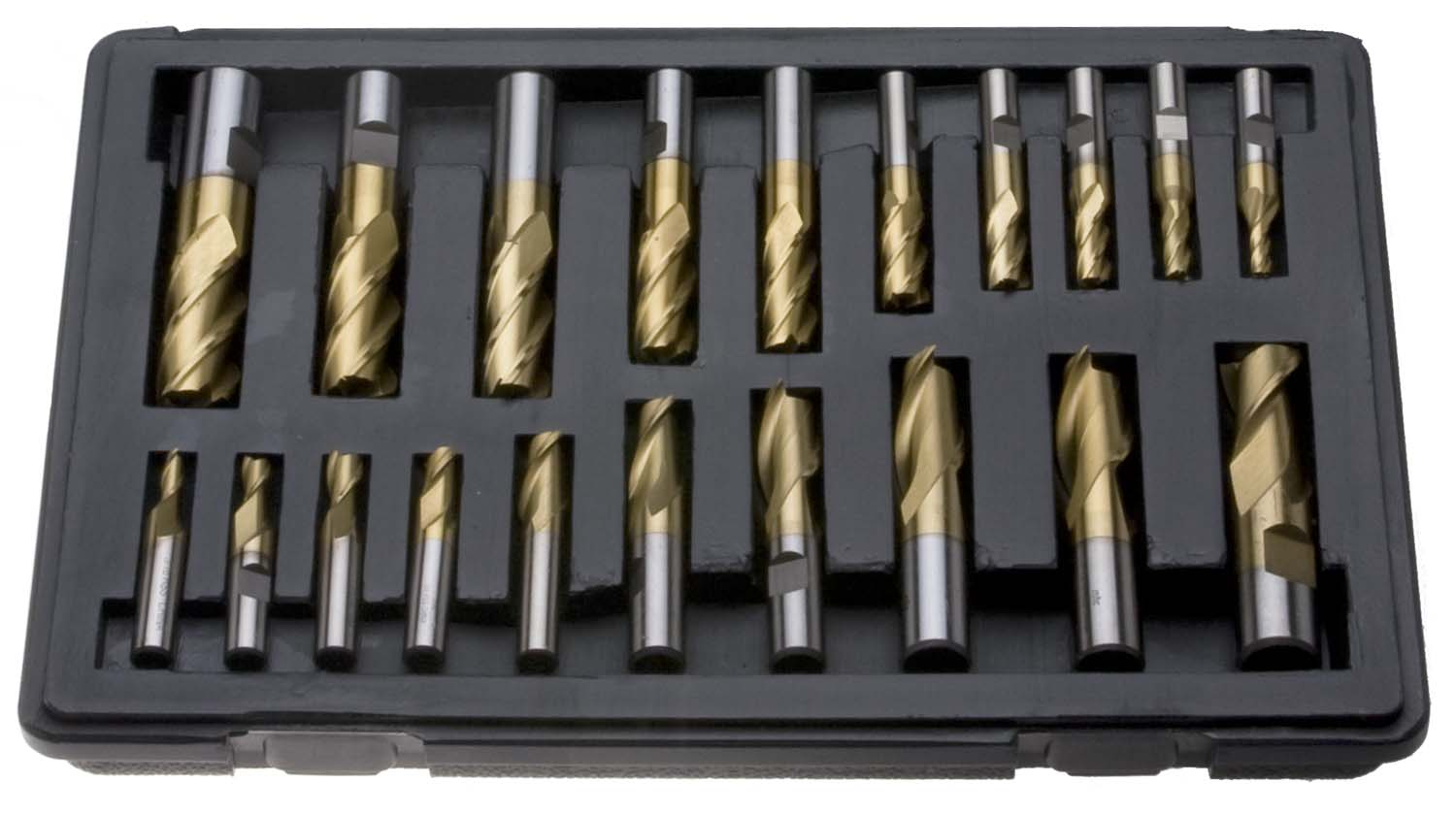 20 Piece TiN Coated End Mill Set