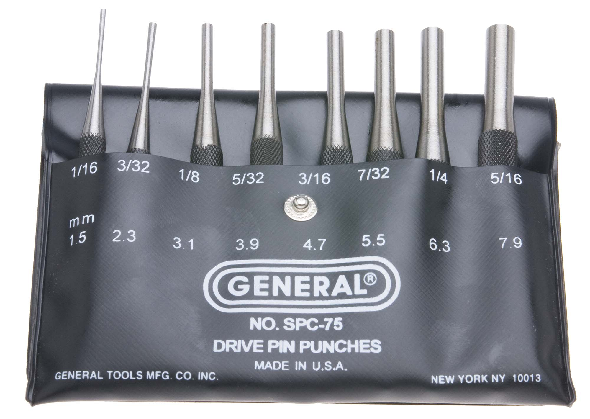 "General SPC75 - 4"" Drive Pin Punch Set 8 Punches"