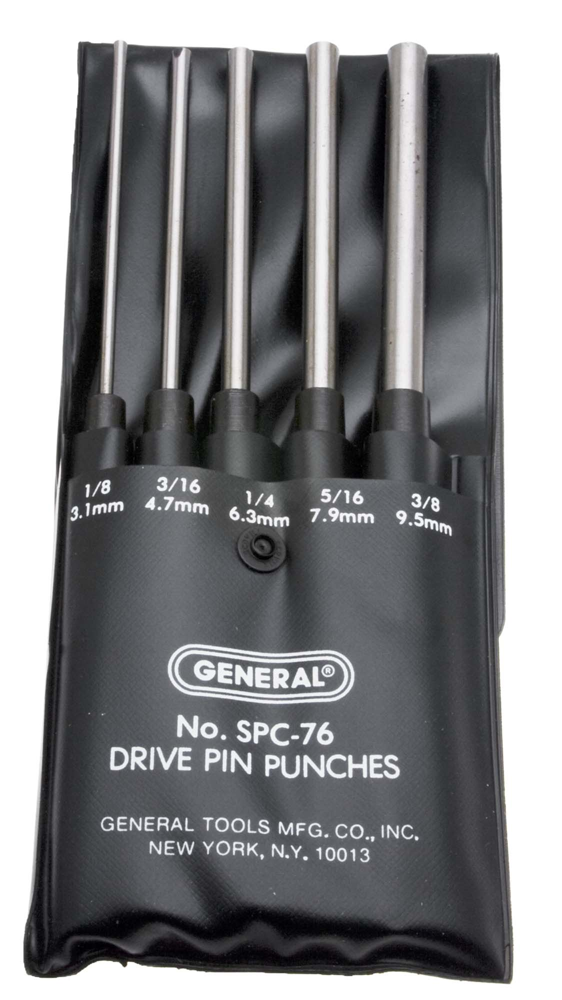 "General SPC76  8"" Long Drive Pin Punch Set - 5 Punches, 1/8"" - 3/8"""