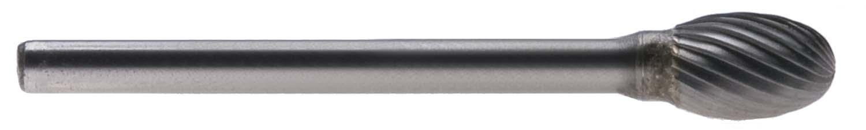 "SE-51 - 1/4"" Head, 1/8"" Shank Single Cut Egg Shape Carbide Burr"