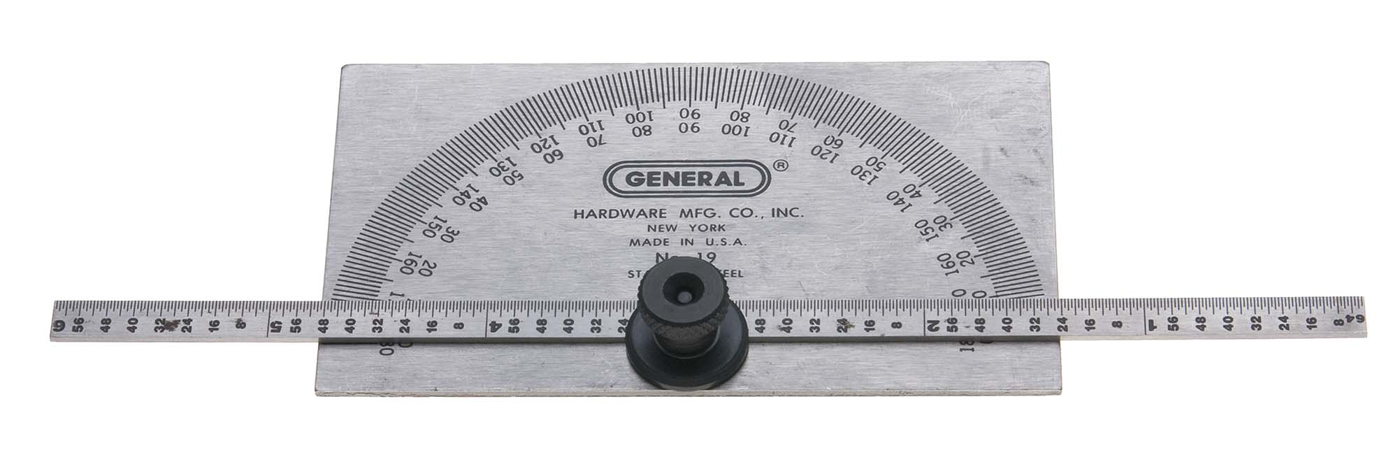General 19 Plain Steel Protractor and Depth Gage