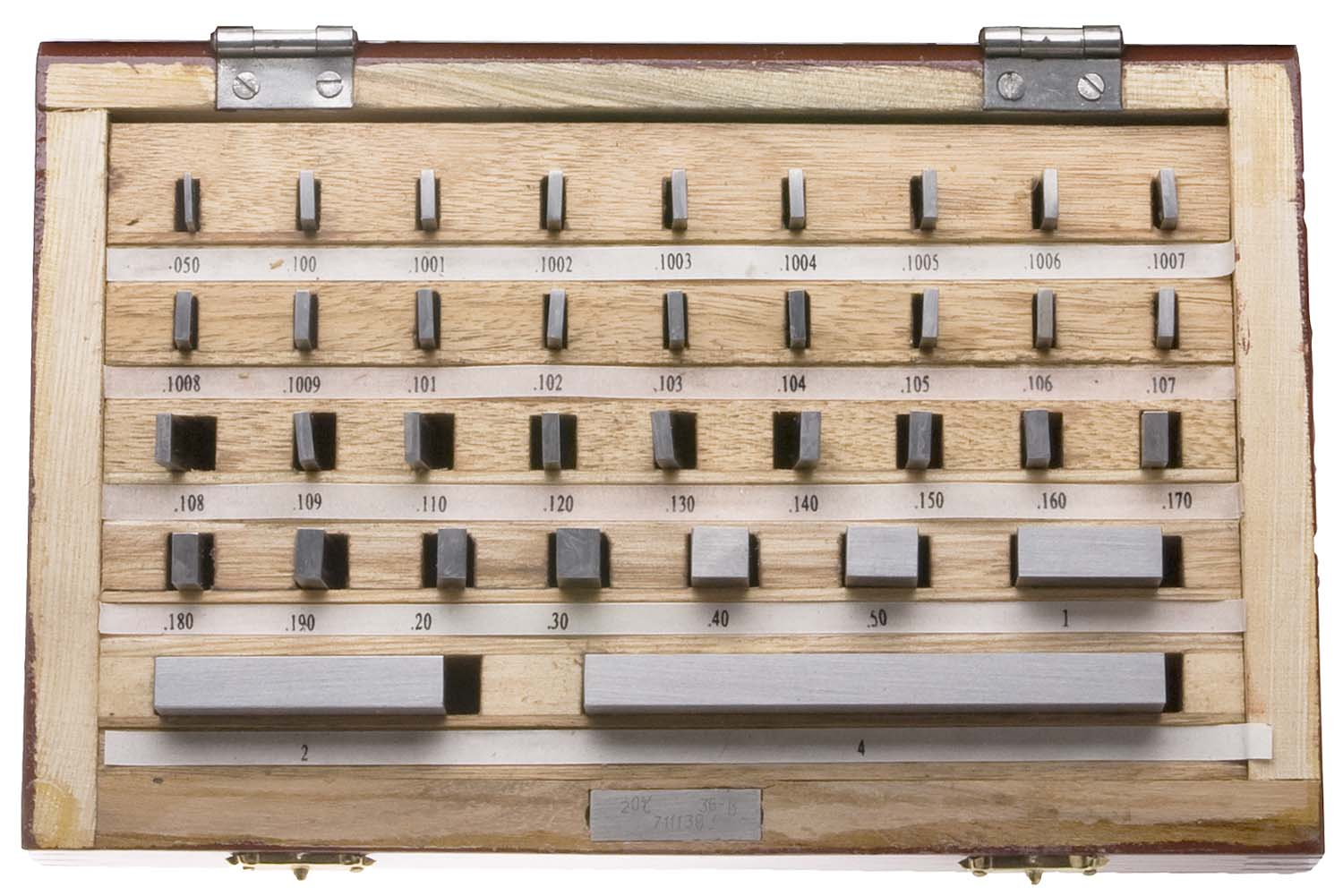 """Gage Block Set in Wood Box, +/-.000050"""" Accuracy, 81 Piece"""