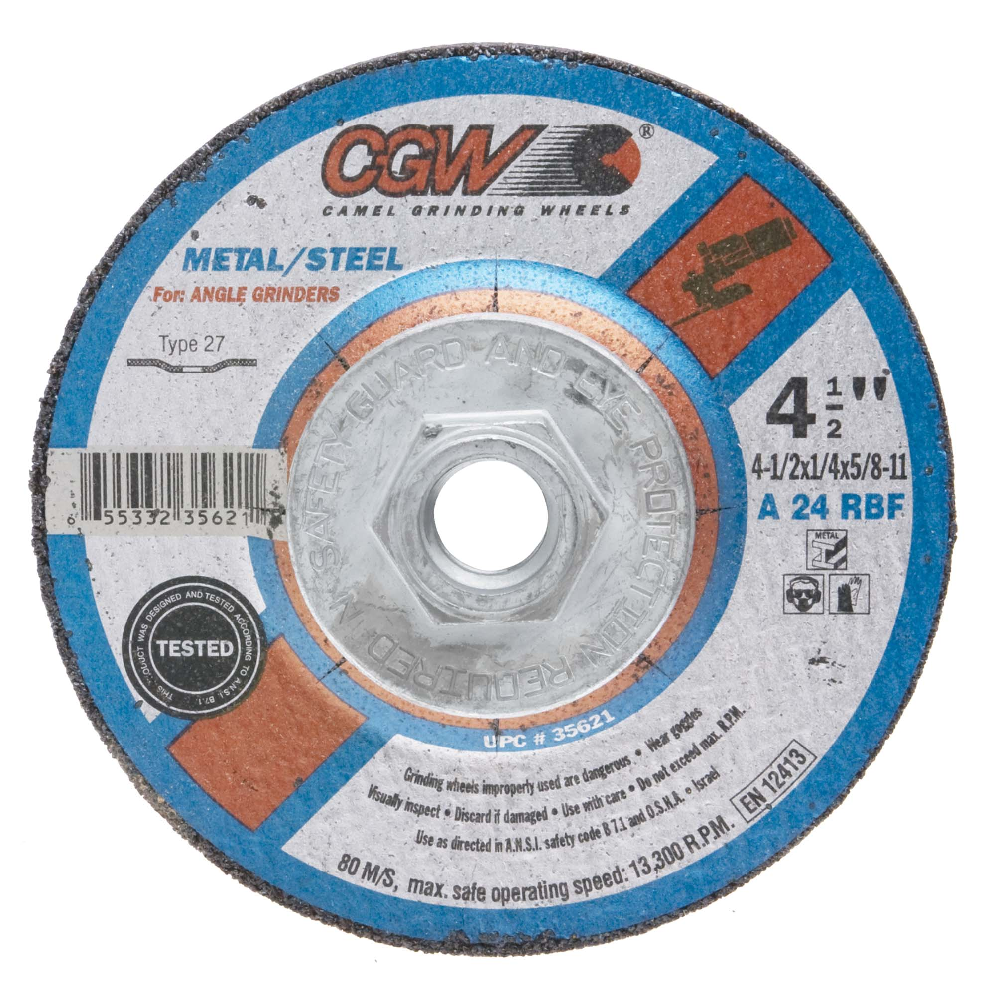 CGW 45002 Depressed Center Cut Off Wheel, 4-1/2 x 045 x 7/8