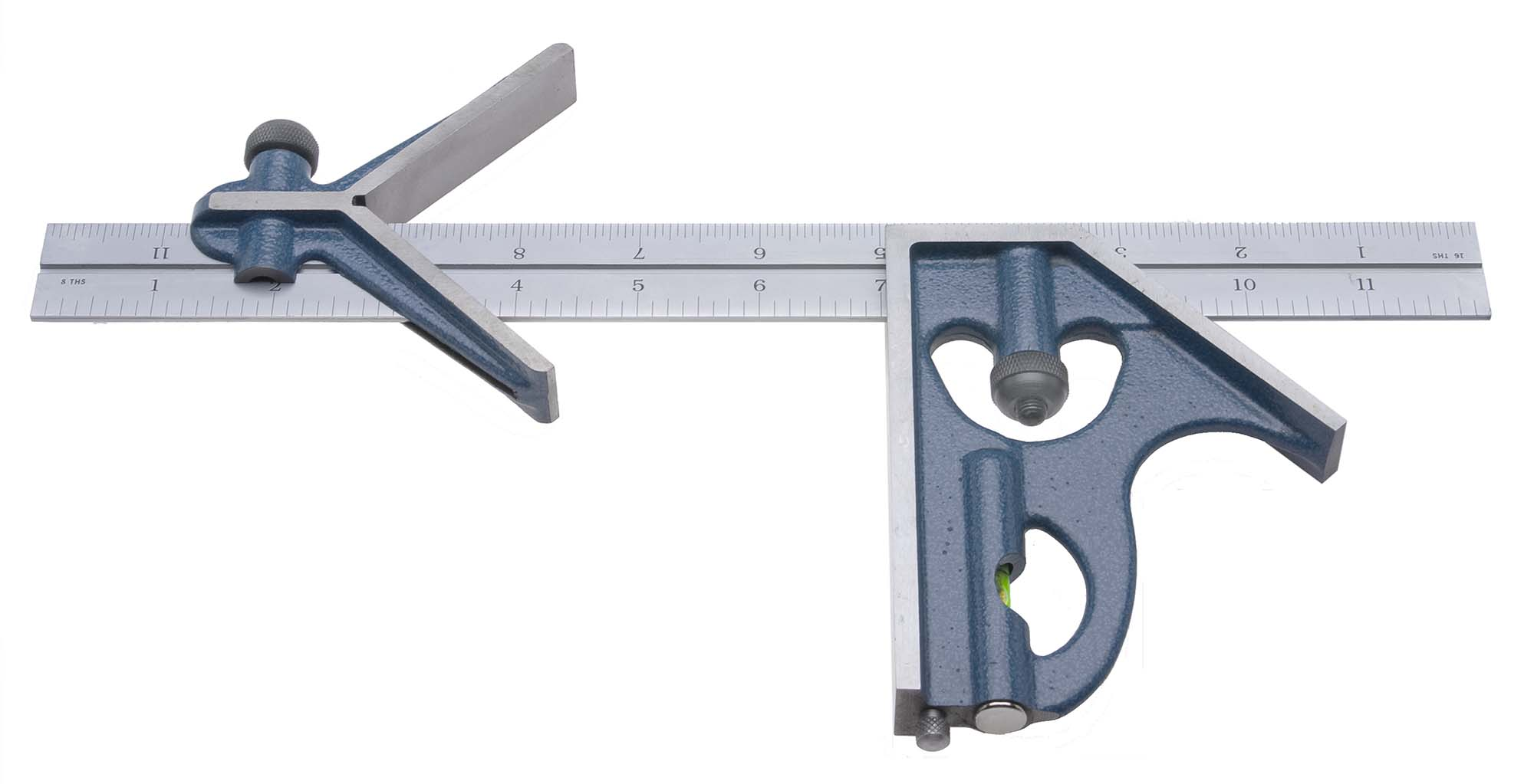 "PEC Tools 7122-012 4R Combination Square 12"" 3 Piece Set (no protractor head), reads 32nds, 64ths, 8ths, 16ths."