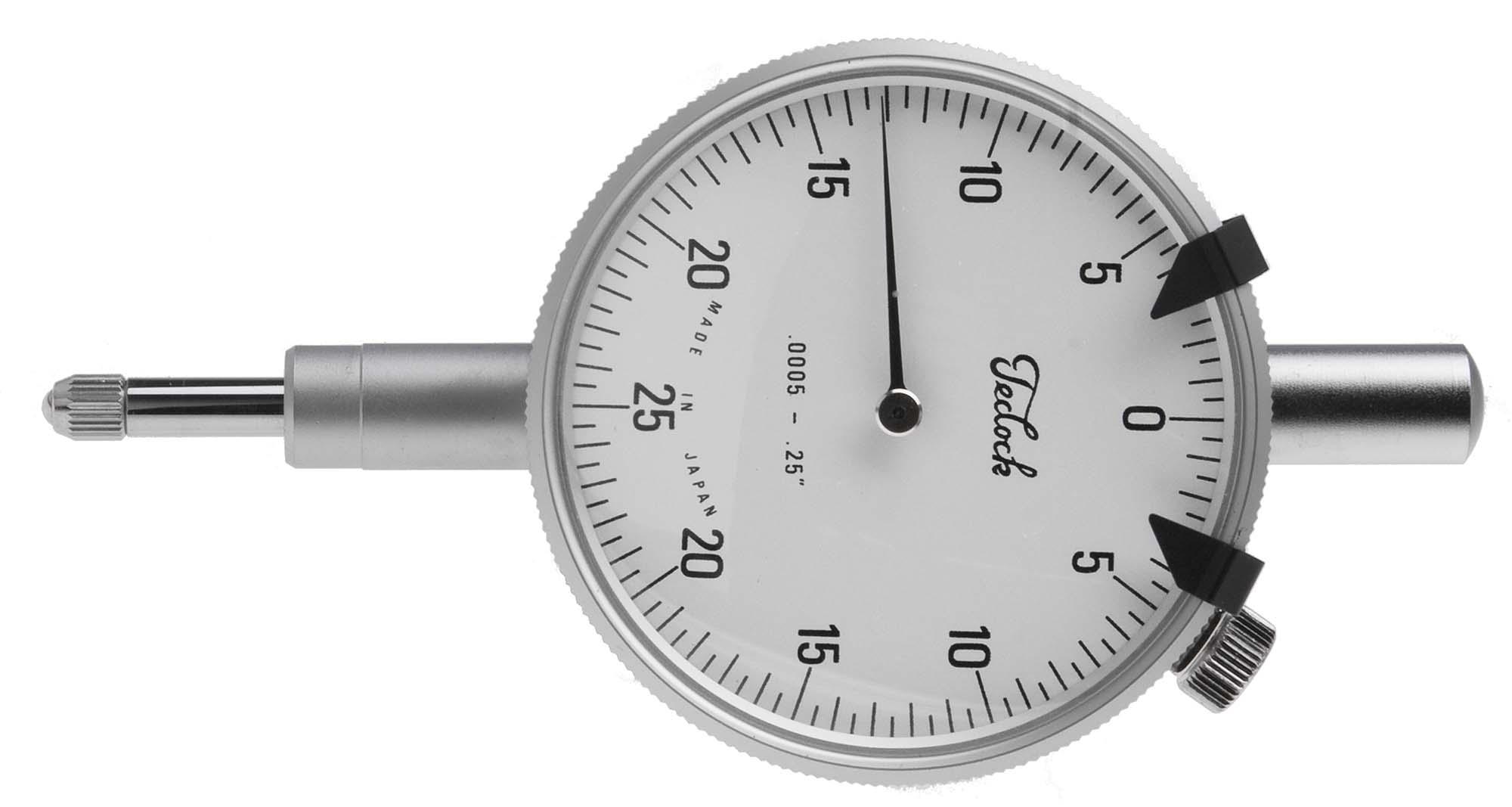 """TECLOCK TI-964-2  1/4"""" Travel Dial Indicator with flat back, .0005"""" Graduation, 5/16"""" Stem"""