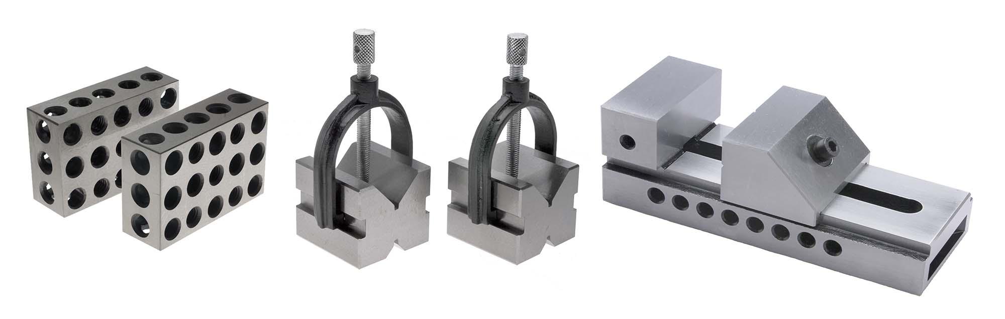 VME Set-up Tool Set: BL-123 Blocks, VS-SLV2A Vise, and VB-2 Vee Blocks
