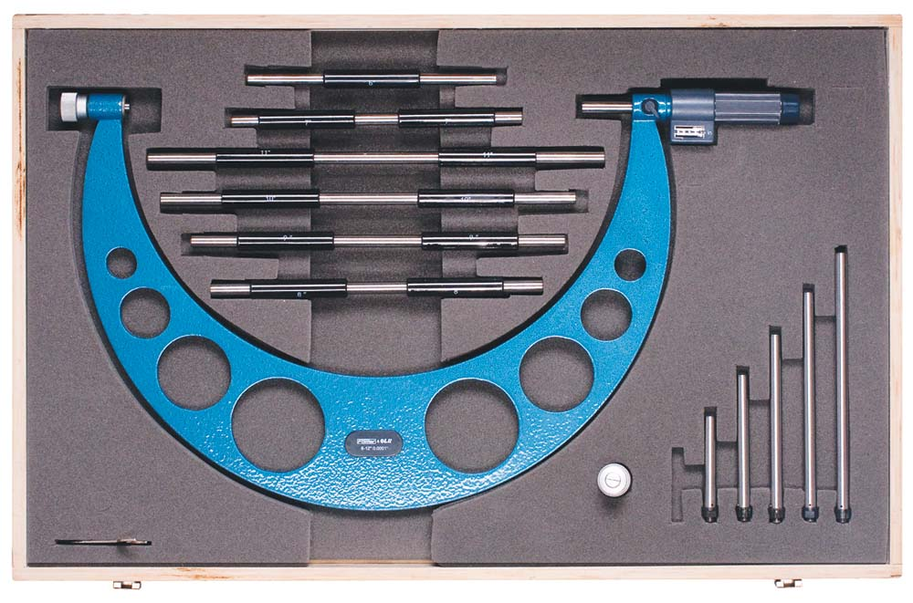 "Fowler 52-401-207 EZ-Read 6-12"" Int Anvil Micrometer Set"