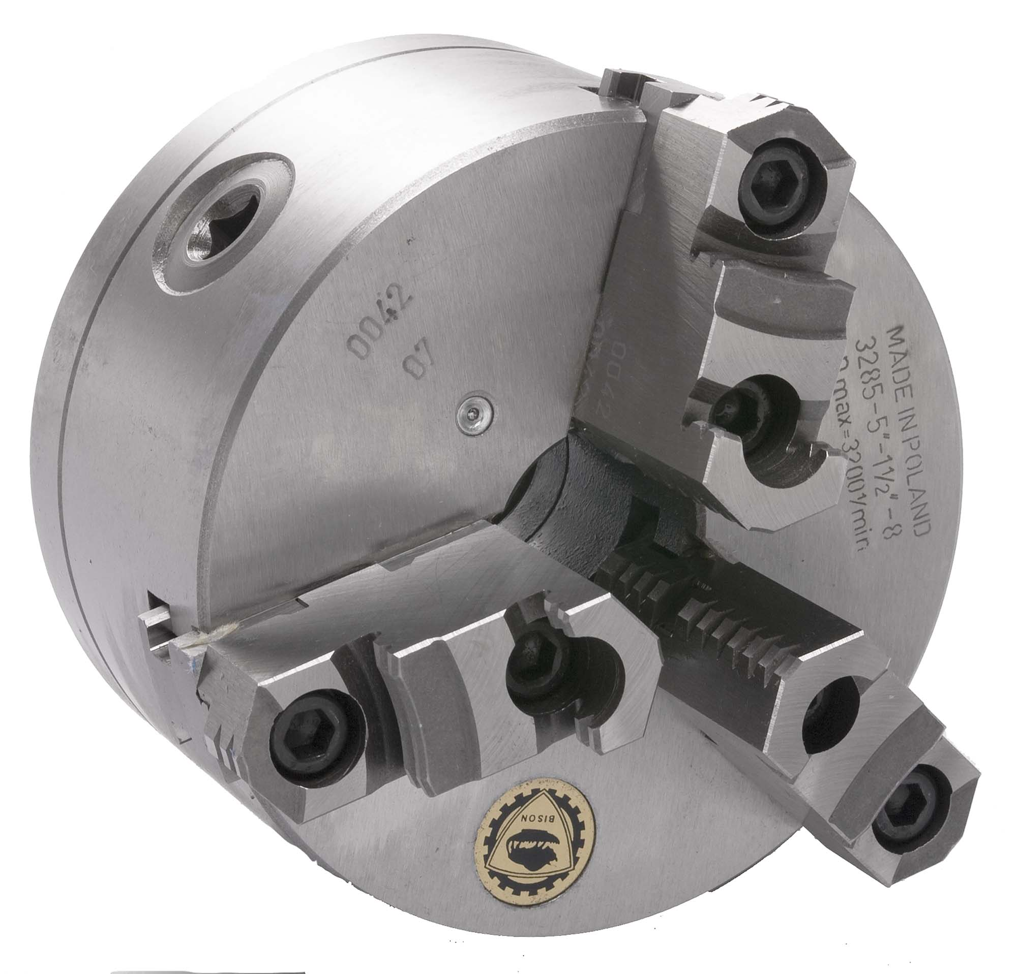 """Bison 7-805-0852 8"""" 3-Jaw Universal Lathe Chuck with 1 1/2-8 Threaded Back"""