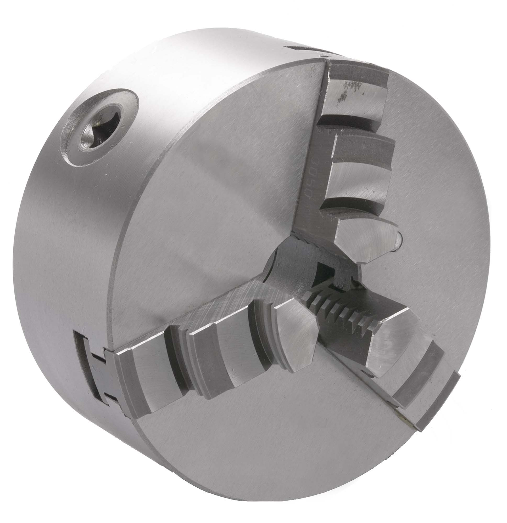 "ECC-4   4"" M290 3-Jaw Plain Back Universal Chuck with inside jaws and outside jaws"