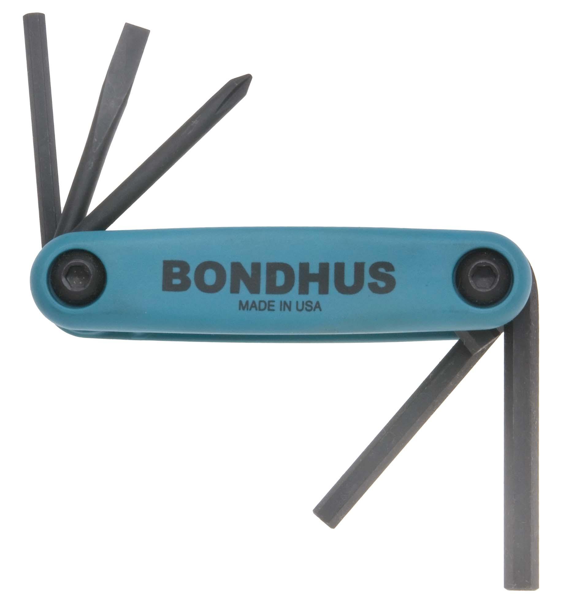 Bondhus 12540 4,5,6mm,Ph #1, 3/16 Slot Bicycle Tool Fold Up Set