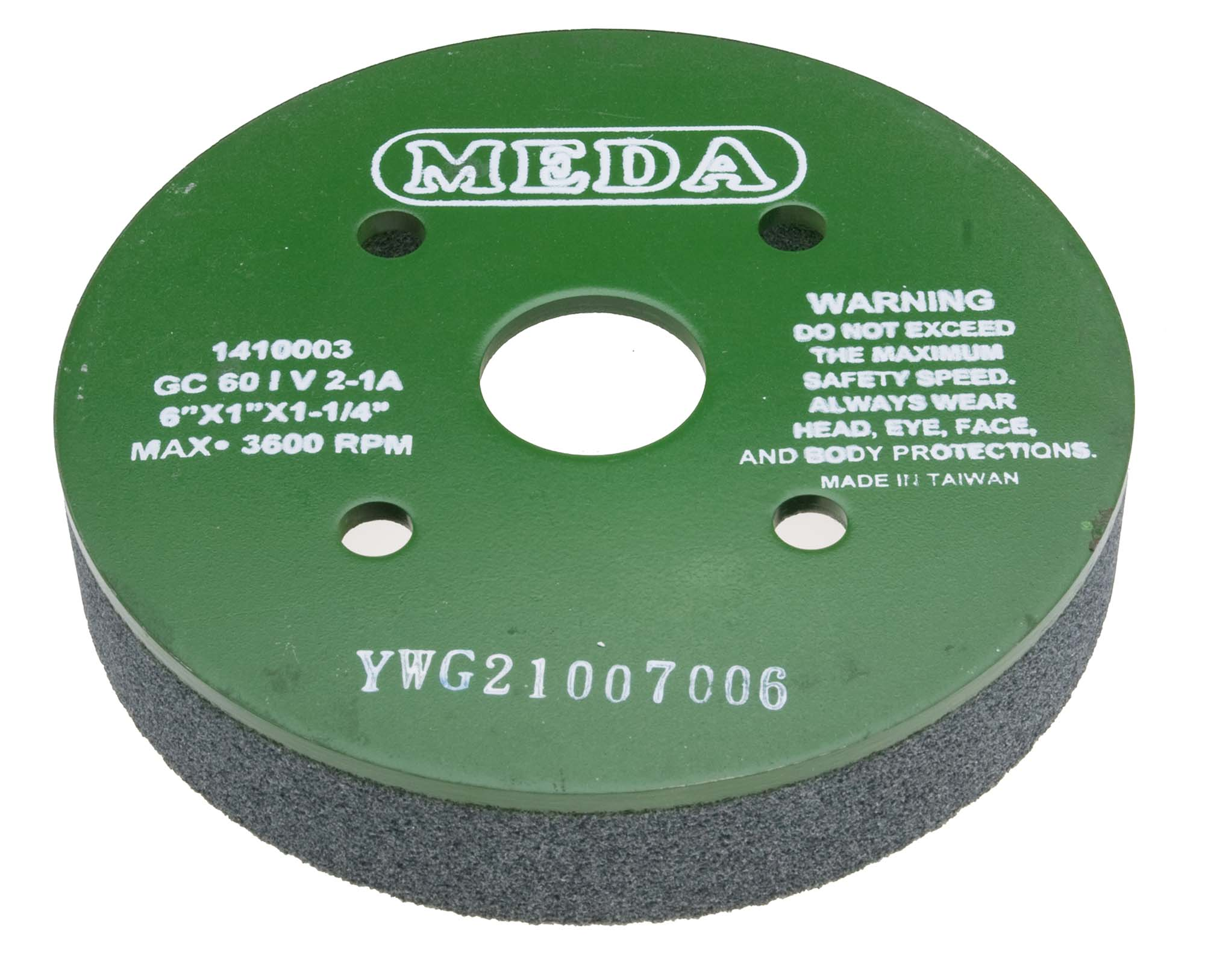 Meda 6 x 1 x 1-1/4, 100I (Fine) Plate Mounted Silicon Carbide Green Grinding Wheel