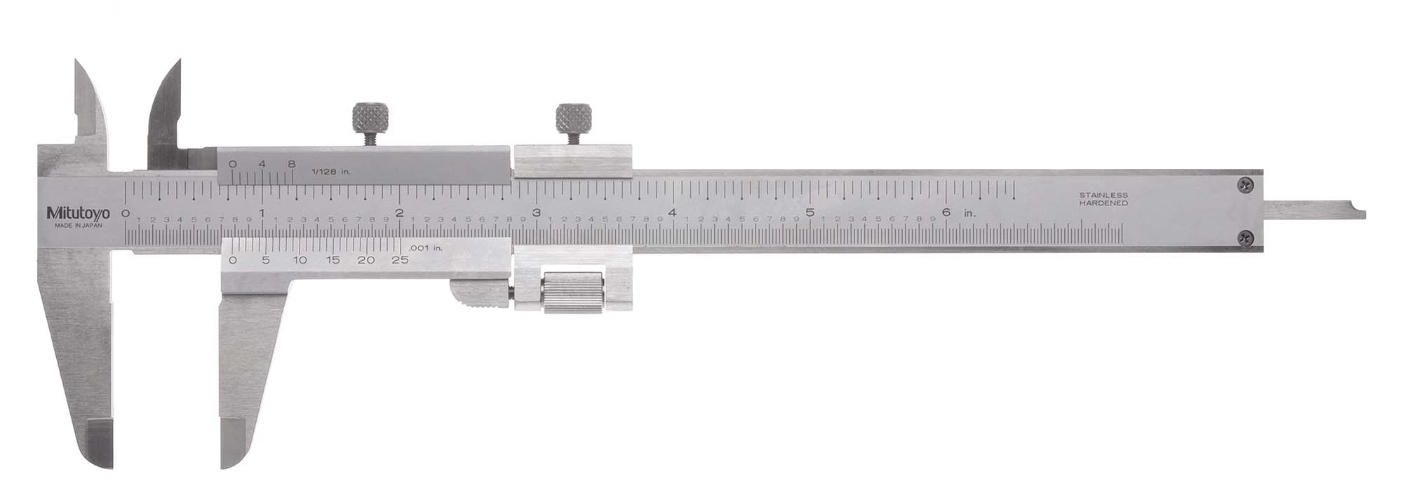 "6"" Mitutoyo Vernier Caliper with Fine Adjustment, .001"", 1/128"""