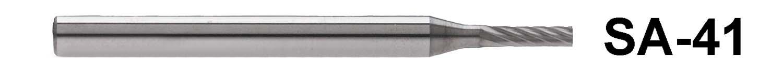 """SA-41 - 1/8"""" Shank Carbide Burr. Cylindrical shape. 1/16"""" head diameter, 1/4"""" head length"""