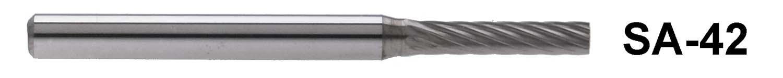 """SA-42 - 1/8"""" Shank Carbide Burr. Cylindrical shape. 3/32"""" head diameter, 7/16"""" head length"""