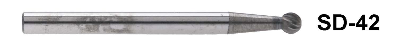 "SD-42  1/8"" Shank Carbide Burr. Ball End. 1/8"" head diameter, 1/8"" head length"