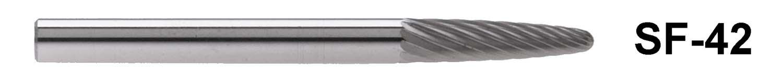 "SF-42  1/8"" Shank Carbide Burr. Tree Shape with Radius End. 1/8"" head diameter, 1/2"" head length"