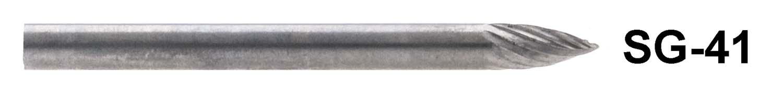 "1/8"" Shank Carbide Burr. SG-41. Tree Shape with Pointed End. 1/8"" head diameter, 1/4"" head length"