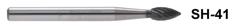 "1/8"" Shank Carbide Burr. SH-41. Flame Shape. 1/8"" head diameter, 1/4"" head length"