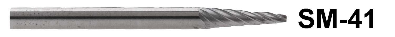 """1/8"""" Shank Carbide Burr. SM-41. Cone Shape. 1/8"""" head diameter, 11/32"""" head length"""