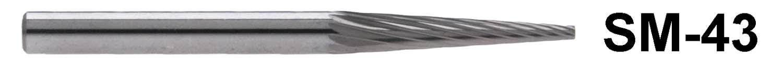 """1/8"""" Shank Carbide Burr. SM-43. Cone Shape. 1/8"""" head diameter, 5/8"""" head length"""