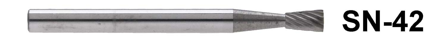 "1/8"" Shank Carbide Burr. SN-42. Inverted Cone Shape. 1/8"" head diameter, 3/16"" head length"