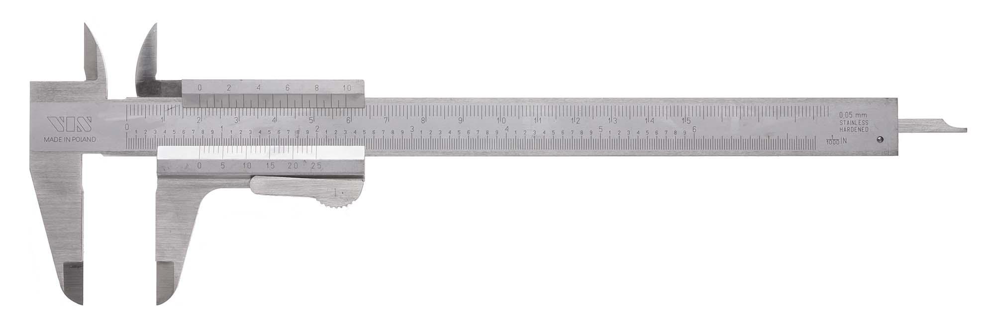 "6"" VIS Vernier Caliper with Thumblock, .001"", 1/20mm"