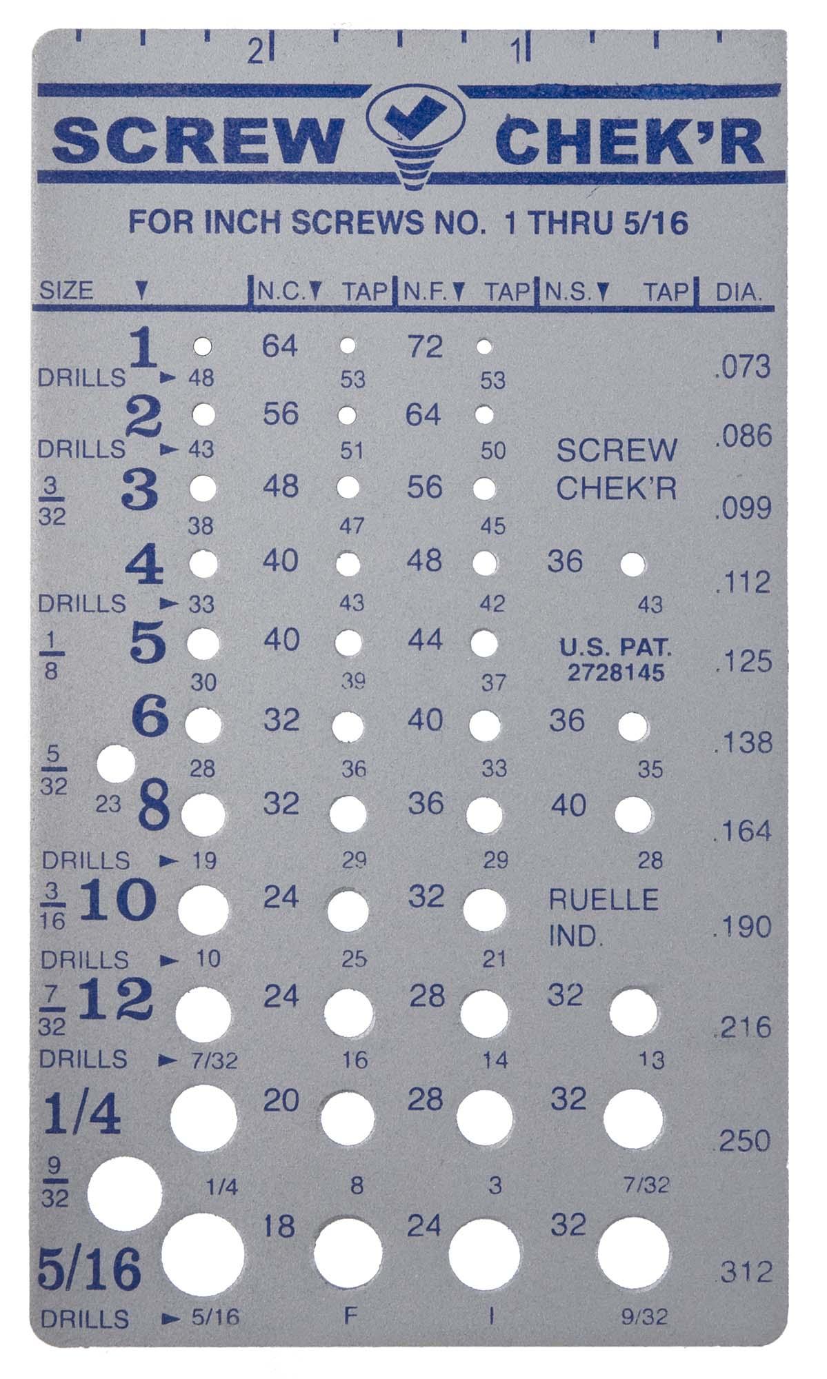 "#1 thru 5/16"" Screw Checker"