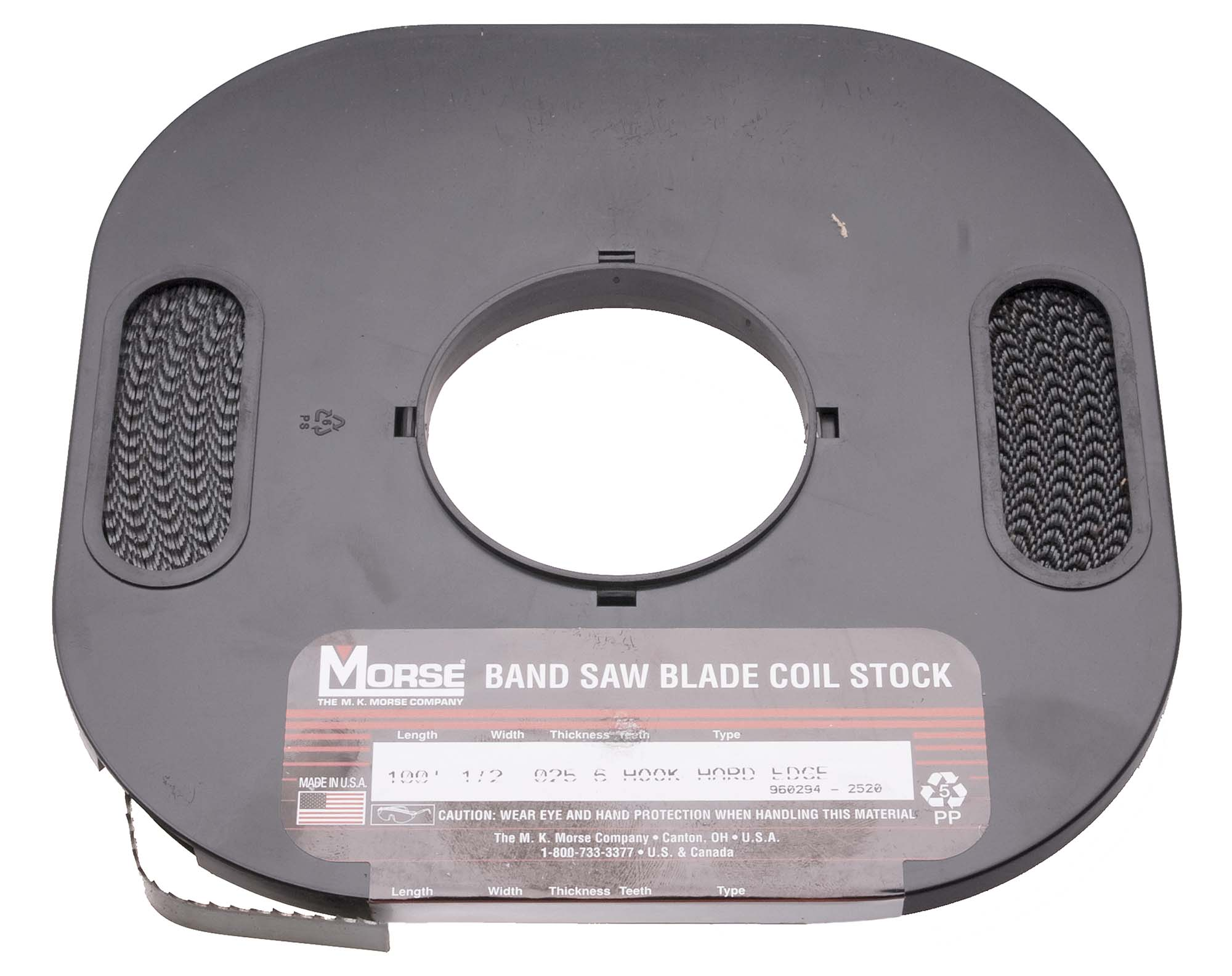 M K Morse 3/8-6 Hook USA Carbon Steel, Hard Edge, Flex Back Bandsaw Blade - 100 Foot Roll