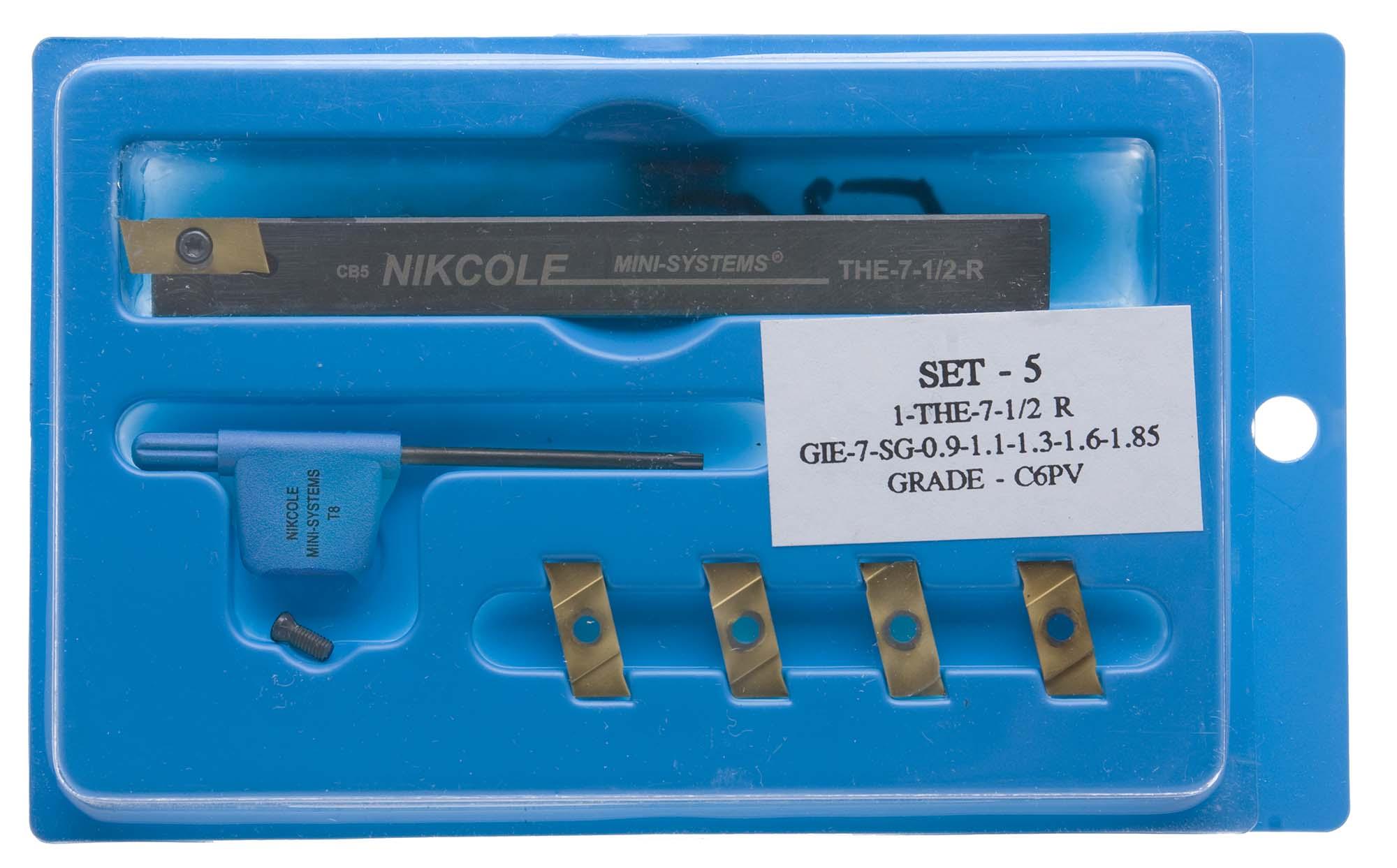 """Nikcole SET 5 Mini-Groove Kit, 1/2"""" Shank toolholder plus 5 coated carbide grooving inserts .035-.073"""""""
