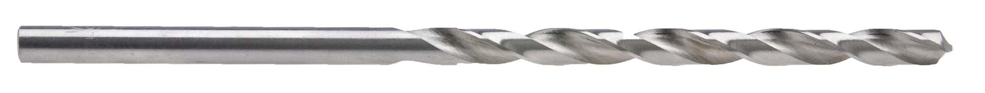 "R (.339"") ""Taper Length"" Long Straight Shank Drill Bit, High Speed Steel"