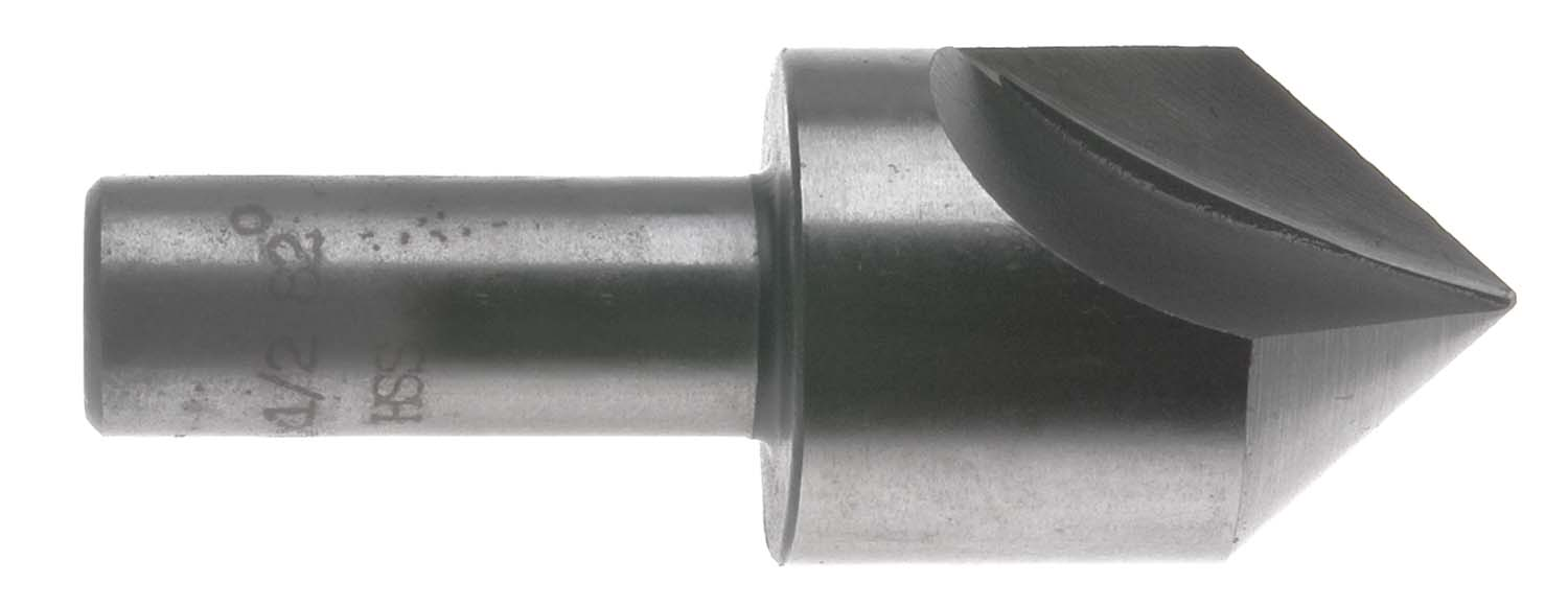 "3/4"" 82 Degree Single Flute Countersink, 1/2"" Shank, High Speed Steel"