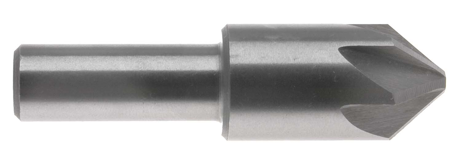 "1"" 60 Degree 6 Flute Chatterless Countersink, 1/2"" Shank, High Speed Steel"