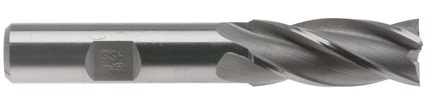 "EM-FC4 1/8"" High Speed Steel 4 Flute Single End Center Cutting End Mill - 3/8"" Shank"