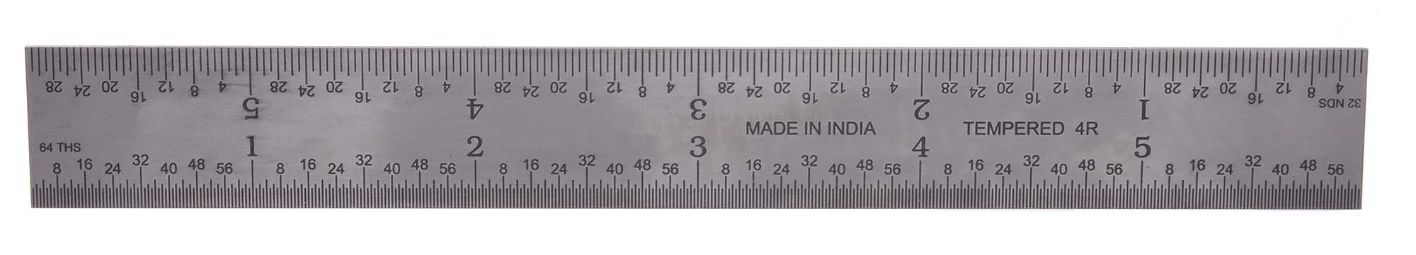 "RULF-12-4R   12"" 4R Flexible Steel Rule  - reads 32nds, 64ths, 8ths, 16ths."