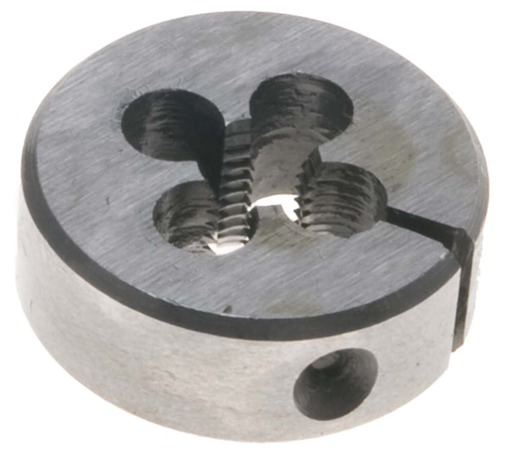 "1/4"" -28  Round Adjustable Die, 1"" Outside Diameter - High Speed Steel."