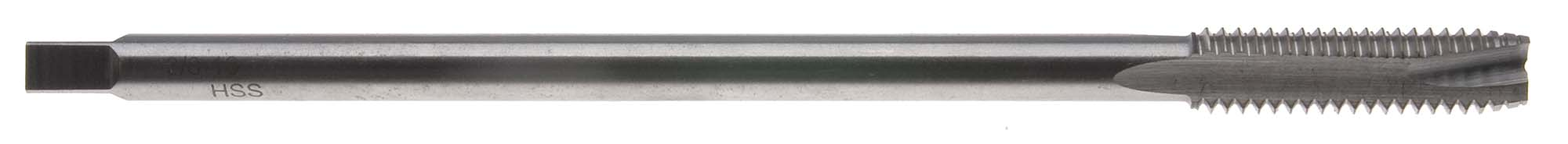 "3/8-24 x 6"" Long Spiral Point Tap with Undercut Shank, High Speed Steel"
