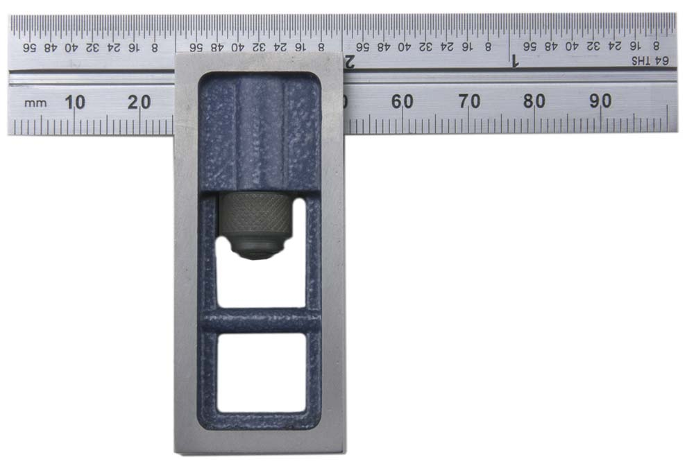 """PEC Tools 7104-264 4"""" Inch/MM Double Square, reads 32nds, 64ths, 1mm, 1/2mm."""